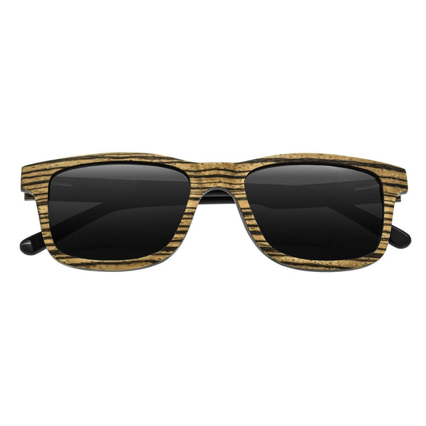 Earth Wood Tide Sunglasses w/ Polarized Lenses - Zebrawood/Black
