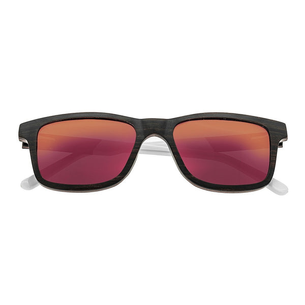 Earth Wood Tide Sunglasses w/Polarized Lenses - Espresso/Red-Yellow