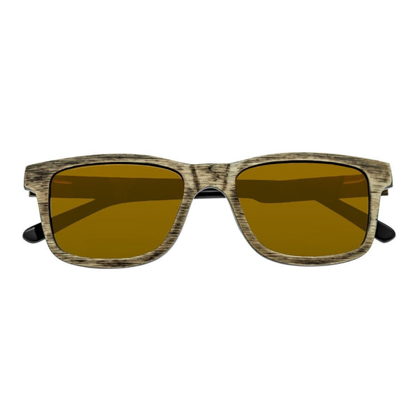 Earth Wood Tide Sunglasses w/Polarized Lenses - Brown/Gold-Yellow