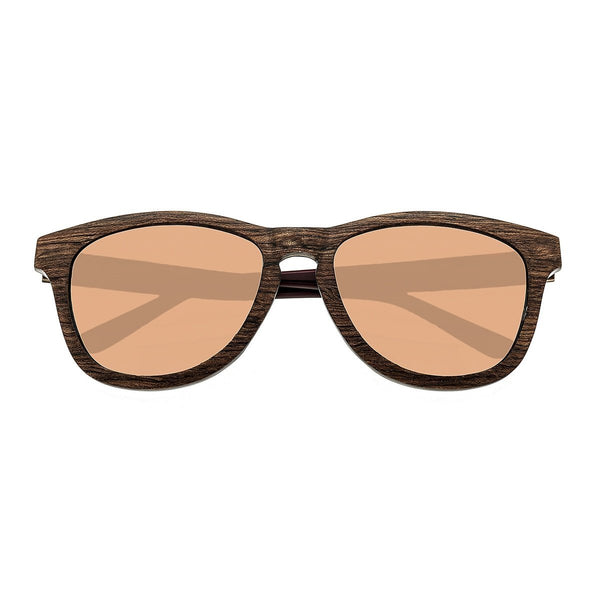 Earth Wood Cove Sunglasses w/Polarized Lenses - Zebra Rosewood/Rose Gold