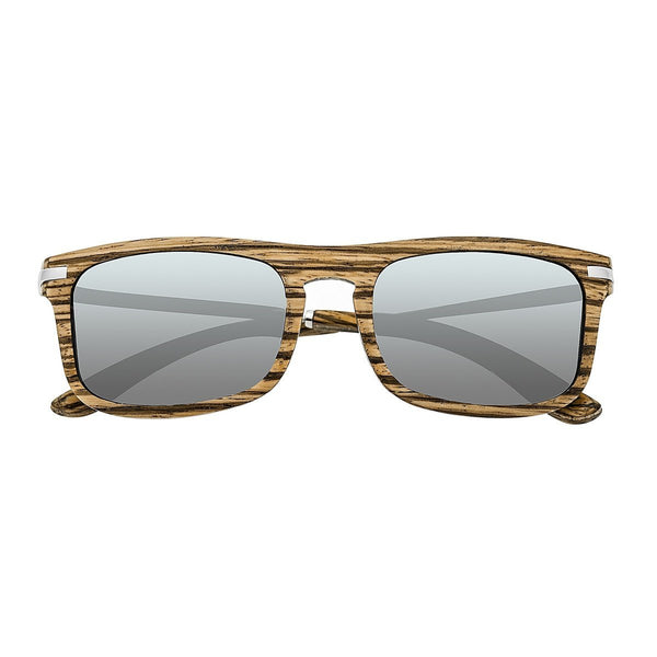 Earth Wood Queensland Sunglasses w/ Polarized Lenses - Zebrawood/Grey