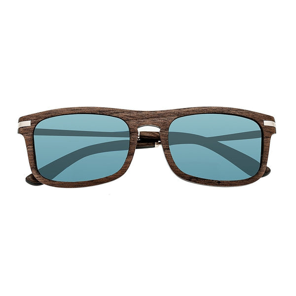 Earth Wood Queensland Sunglasses w/Polarized Lenses - Brown/Blue