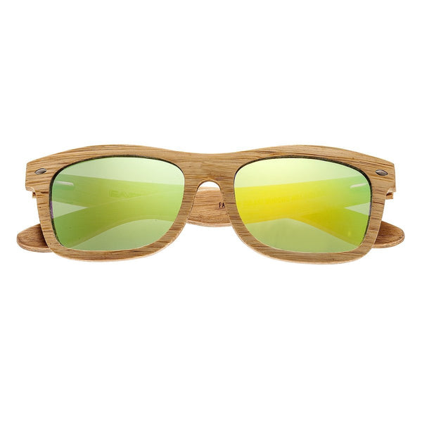 Earth Wood Maya Sunglasses w/Polarized Lenses - Bamboo/Yellow