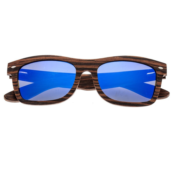 Earth Wood Maya Sunglasses w/Polarized Lenses - Ebony/Blue