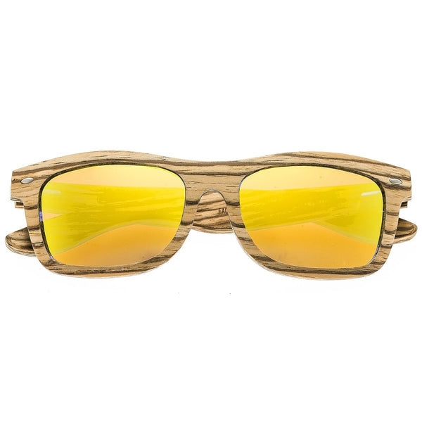 Earth Wood Maya Sunglasses w/Polarized Lenses - Zebrawood/Yellow