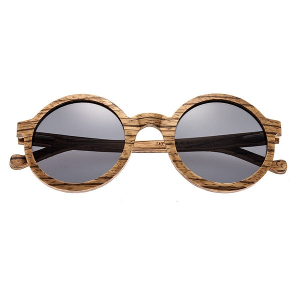 Earth Wood Canary Sunglasses w/Polarized Lenses - Zebrawood/Black