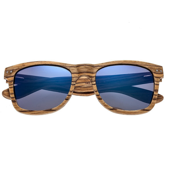 Earth Wood Cape Cod Sunglasses w/ Polarized Lenses - Zebrawood/Blue