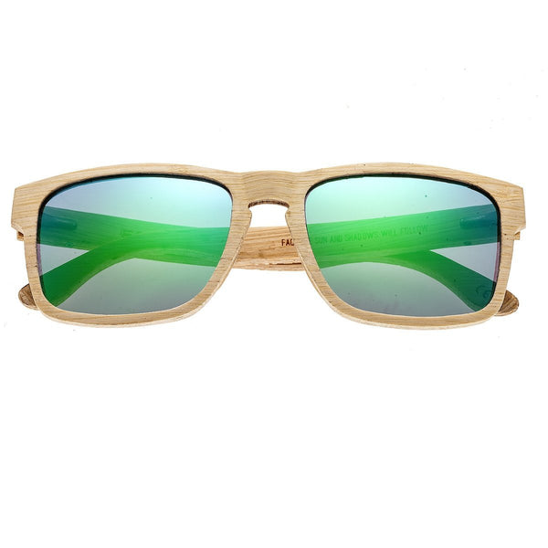Earth Wood Whitehaven Sunglasses w/ Polarized Lenses - Bamboo/Green-Blue