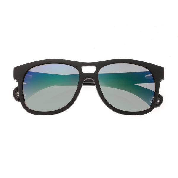 Earth Wood Las Islas Sunglasses w/ Polarized Lenses - Ebony/Blue-Green