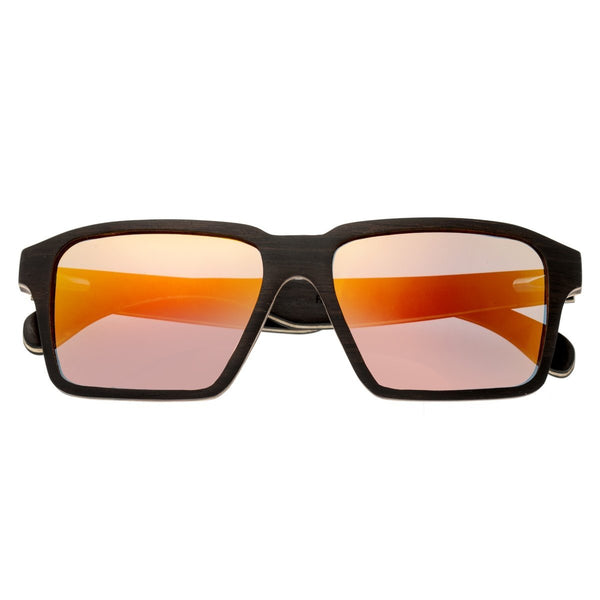 Earth Wood Piha Sunglasses w/Polarized Lenses - Ebony/Red-Yellow