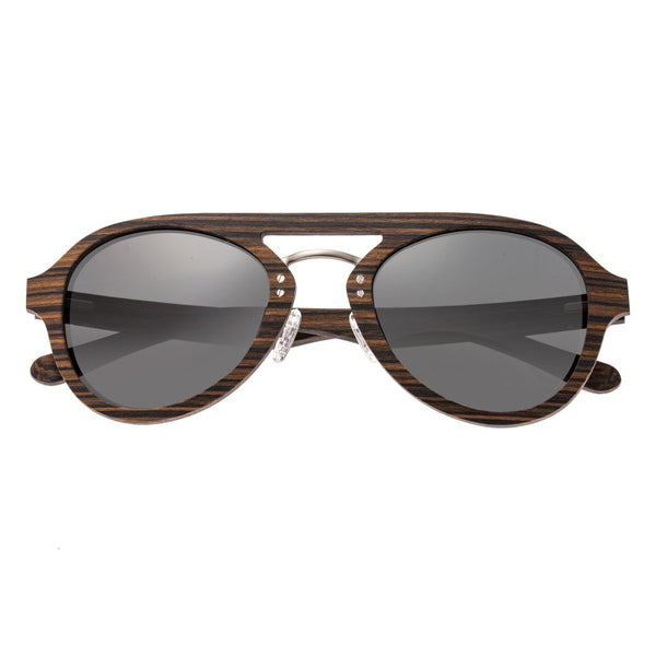 Earth Wood Cruz Sunglasses w/ Polarized Lenses - Brown Stripe/Black