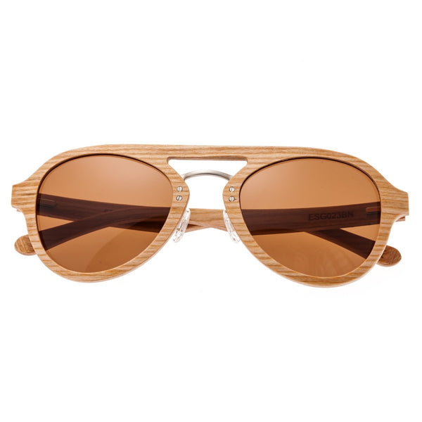 Earth Wood Cruz Sunglasses w/ Polarized Lenses - Bamboo/Brown