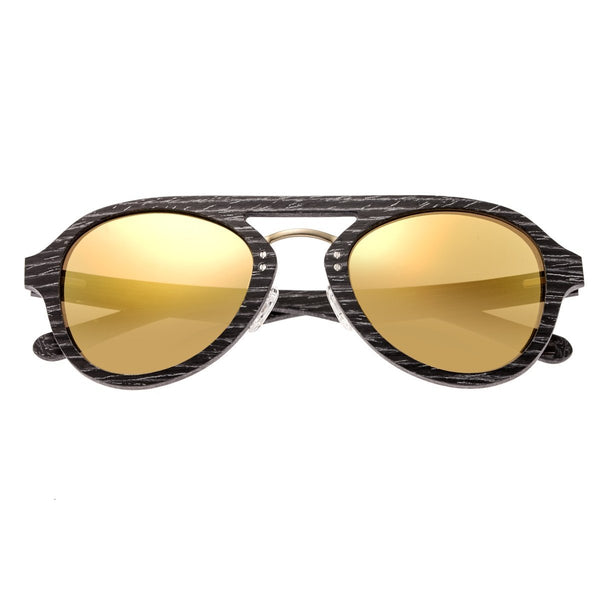Earth Wood Cruz Sunglasses w/ Polarized Lenses - Black Stripe/Gold