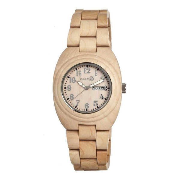 Earth Wood Hilum Bracelet Watch W/Day/Date - Khaki/Tan