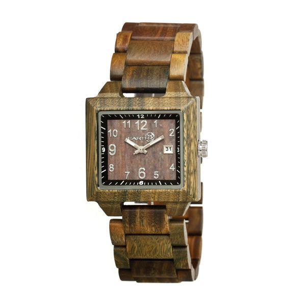 Earth Wood Culm Bracelet Watch w/Date- Olive