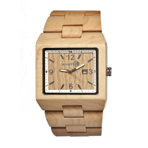 Earth Wood Rhizomes Bracelet Watch w/Date - Khaki/Tan