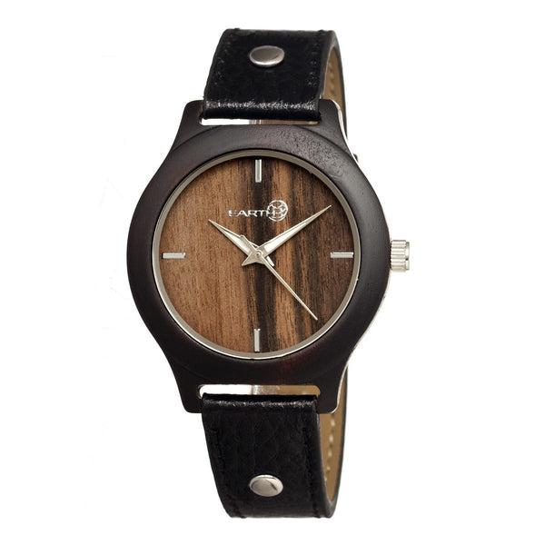 Earth Wood Tannins Leather-Band Watch - Dark Brown