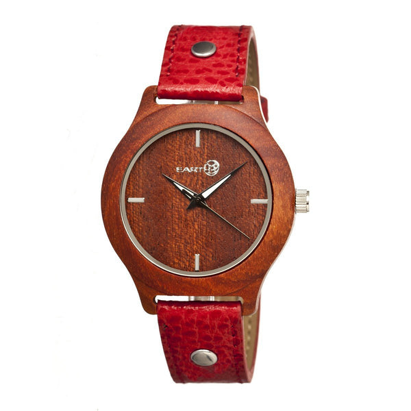 Earth Wood Tannins Leather-Band Watch - Red
