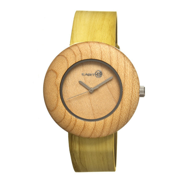 Earth Wood Ligna Leather-Band Watch - Khaki/Tan