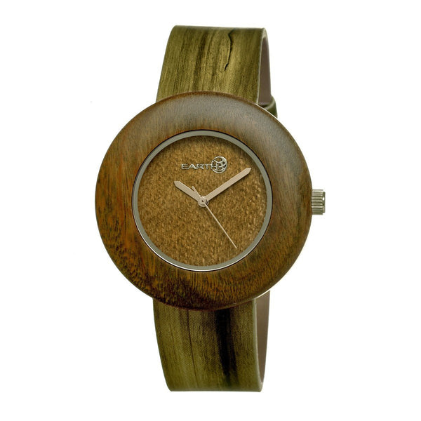Earth Wood Ligna Leather-Band Watch -Olive