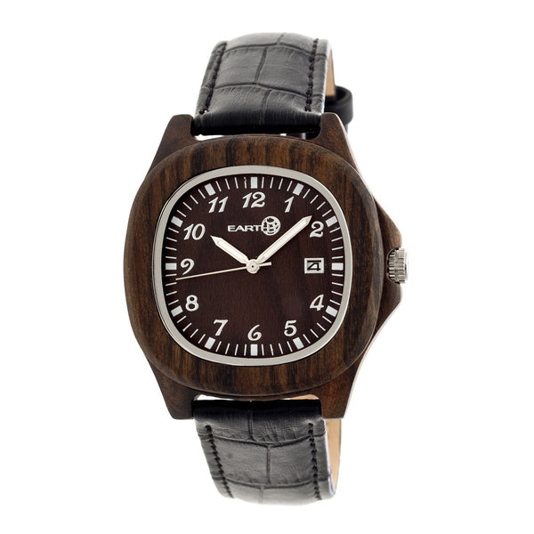 Earth Wood Sherwood Leather-Band Watch - Dark Brown