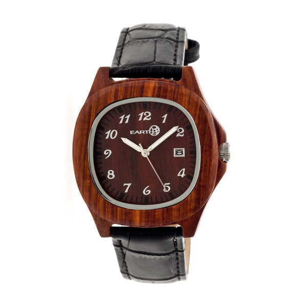 Earth Wood Sherwood Leather-Band Watch - Red