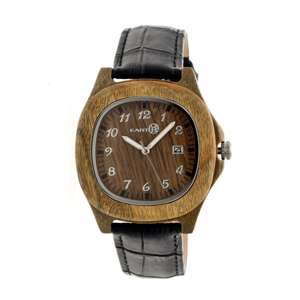 Earth Wood Sherwood Leather-Band Watch - Olive