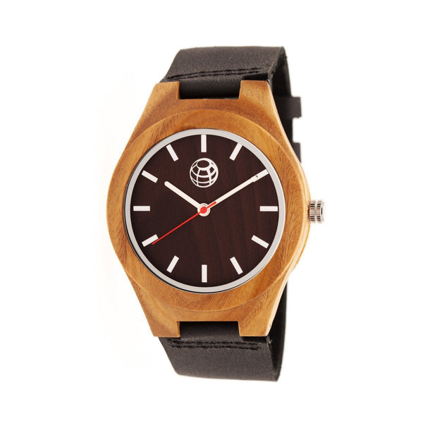 Earth Wood Aztec Leather-Band Watch - Dark Brown