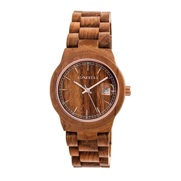 Earth Wood Biscayne Bracelet Watch w/Date - Brown