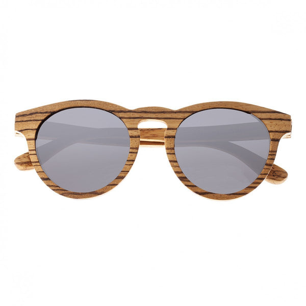 Earth Wood Cocoa Sunglasses w/ Polarized Lenses - Brown Zebrawood/Black
