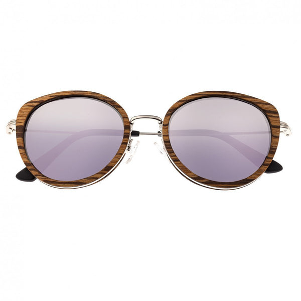 Earth Wood Oreti Sunglasses w/ Polarized Lenses - Zebrawood/Purple