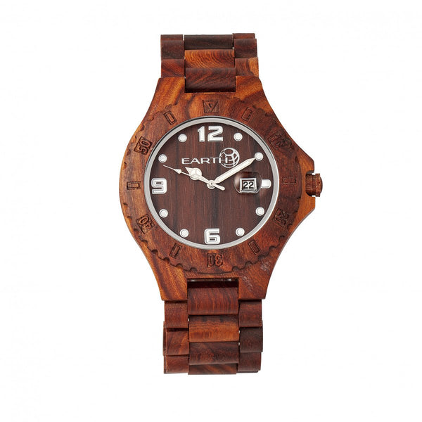 Earth Wood Raywood Bracelet Watch w/Date - Red