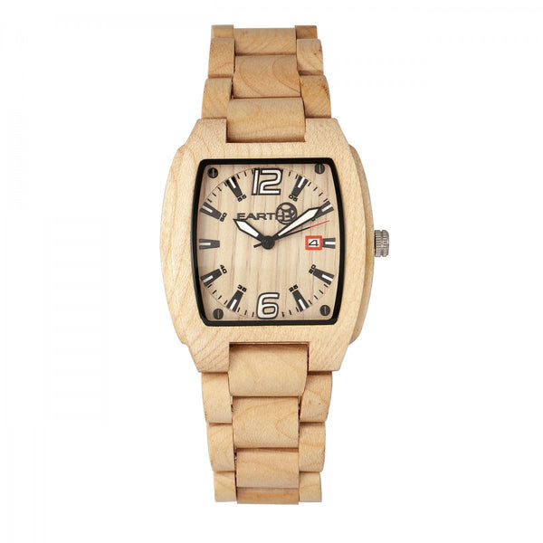 Earth Wood Sagano Bracelet Watch w/Date - Khaki/Tan