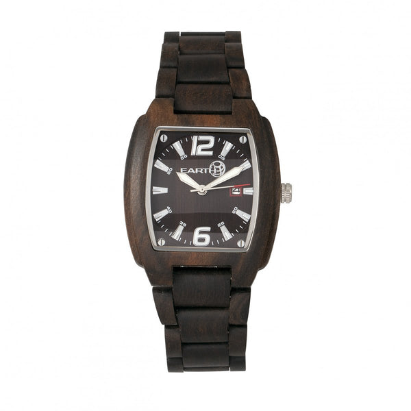 Earth Wood Sagano Bracelet Watch w/Date - Dark Brown