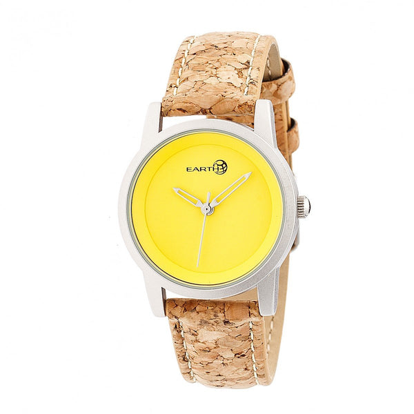 Earth Wood Canopies Leather-Band Watch - Silver/Yellow