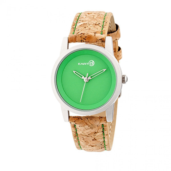 Earth Wood Canopies Leather-Band Watch - Silver/Green