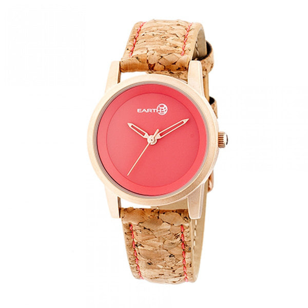 Earth Wood Canopies Leather-Band Watch - Rose Gold/Red