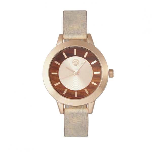 Earth Wood Autumn Watch - Rose Gold/Brown