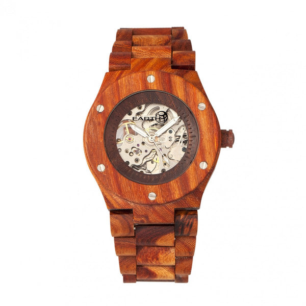 Earth Wood Grand Mesa Automatic Skeleton Bracelet Watch - Red