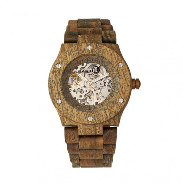 Earth Wood Grand Mesa Automatic Skeleton Bracelet Watch - Olive
