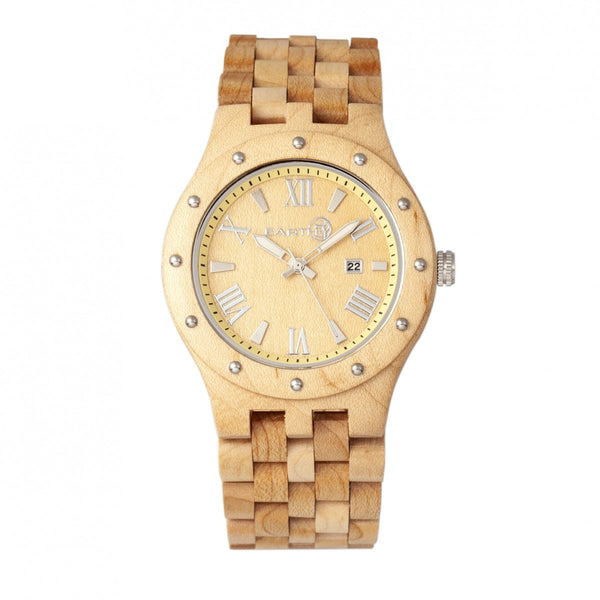 Earth Wood Inyo Bracelet Watch w/Date - Khaki/Tan
