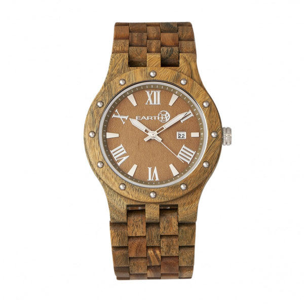 Earth Wood Inyo Bracelet Watch w/Date - Olive