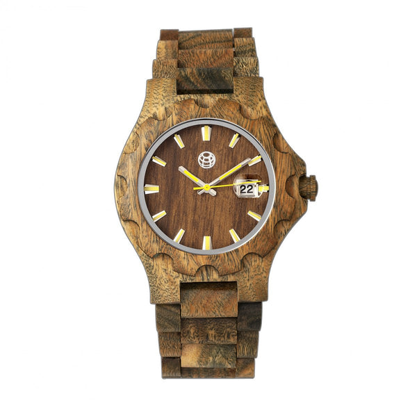 Earth Wood Gila Bracelet Watch w/Magnified Date - Olive