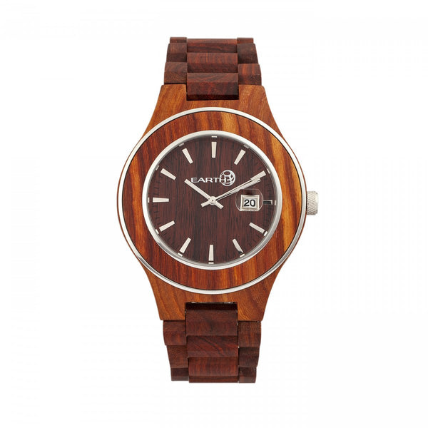 Earth Wood Cherokee Bracelet Watch w/Magnified Date - Red