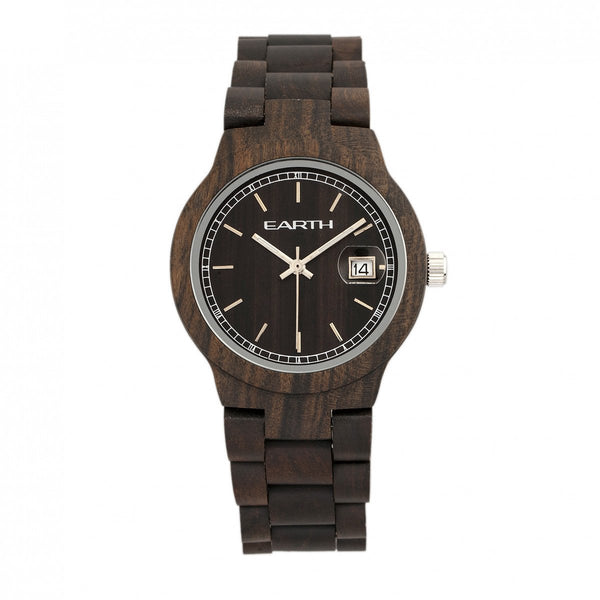 Earth Wood Biscayne Bracelet Watch w/Date - Dark Brown