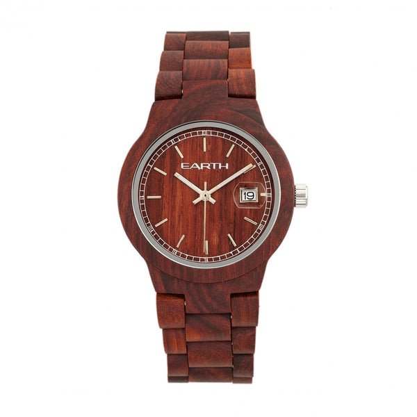 Earth Wood Biscayne Bracelet Watch w/Date - Red