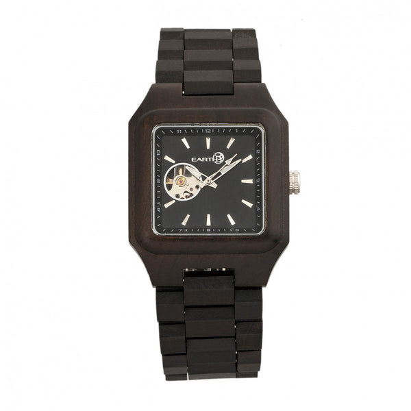 Earth Wood Black Rock Automatic Bracelet Watch - Dark Brown