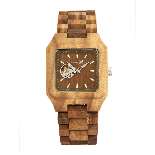 Earth Wood Black Rock Automatic Bracelet Watch - Olive