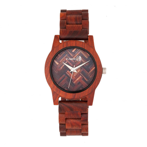Earth Wood Crown Bracelet Watch - Red