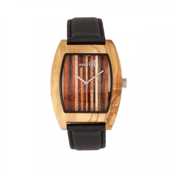 Earth Wood Cedar Leather-Band Watch - Khaki/Tan